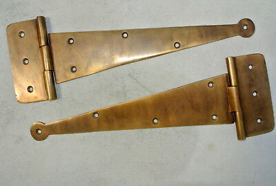 """4 Large hinges vintage aged hand solid Brass DOOR box restore heavy 9"""" long B 4"""