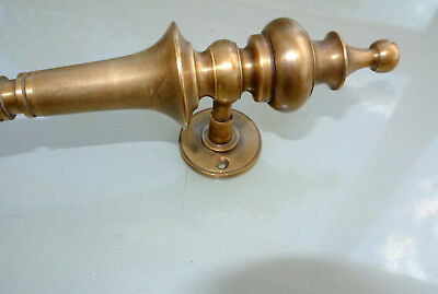 "4 light large DOOR handle pulls solid SPUN brass vintage aged old style 12 "" B 8"