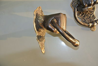 """2 Solid Brass FIST HAND Door Knocker PULL HANDLE ring 7"""" aged old look heavy B 5"""