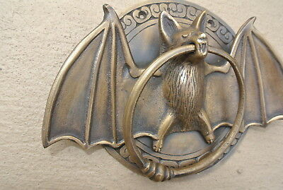 "heavy Door Knocker BAT ring old heavy SOLID cast BRASS vintage antique style 7""B 2"