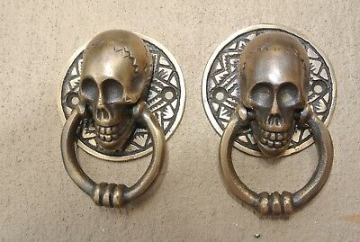 4 small SKULL head ring pull Handle cast BRASS day of the dead cabinet door 5cmB 5