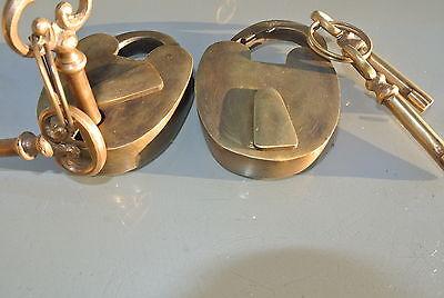 "2 small PADLOCK 2"" old stye solid brass 4 keys heavy lock wedding bridge B 4"