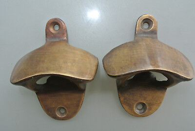 2 x PLAIN  Bottle Opener solid brass works AGED  finish screws included heavy B 4