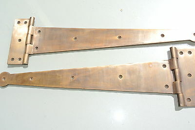 "2 massive hinges vintage aged style solid 100% Brass DOORS BOX very heavy 18"" B 4"