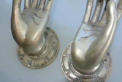 "2 medium Pull handle hand 7cm buddha brass silver door old style knob hook 3"" B 3"