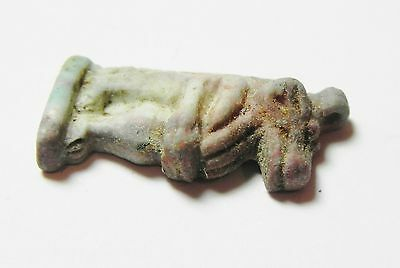 Zurqieh -Af5- Extremly Rare Perfect Tel Al Amarna Faience Amulet 3
