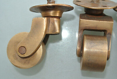 """4 screw castor chair table wheel solid brass 1.3/4 """"high castors old style lookB 8"""