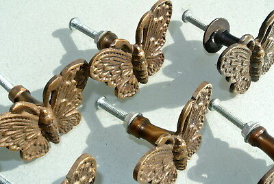 """8 heavy Butterfly handles solid Brass PULL knobs kitchens antiques 2 """" knobs B 8"""