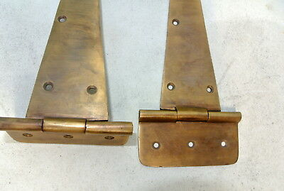 "4 Large hinges vintage aged solid Brass DOOR box restore heavy 10 "" long 26 cm B 7"