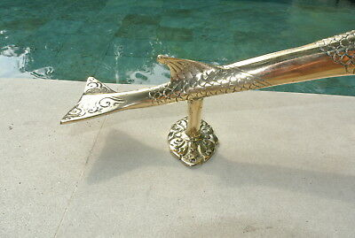 used large DOLPHIN handle door PULL brass hollow polished old aged style 37cm 7