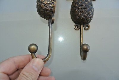 4 large PINEAPPLE COAT HOOKS solid age brass  vintage old style 19cm hook B 8