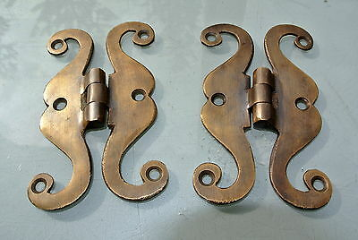 "2 small snake hinge old aged style solid Brass kitchens antiques doors 4"" 2"