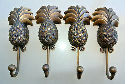 4 large PINEAPPLE COAT HOOKS solid age brass old vintage old style 19 cm hook B 6