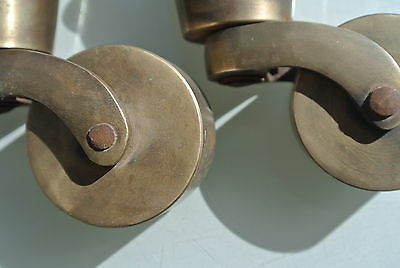 2 big CUP solid Brass foot castors wheel chairs tables old antique style castor 7