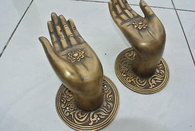 Pair large BUDDHA Pull handles hand aged heavy cast brass door old style 10 cm 5