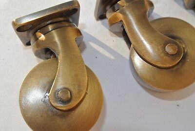 4 small screw castor chair table wheel brass 5.7 cm high heavy castors B 3
