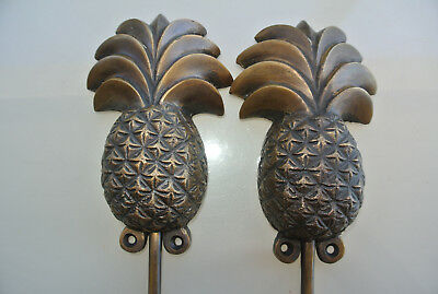 "2 large PINEAPPLE COAT HOOKS solid age brass  vintage old style 7"" hook B 4"