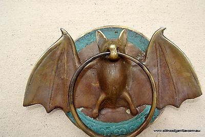 "Door Knocker BAT ring heavy front SOLID 100% BRASS vintage antique style 7"" B 3"