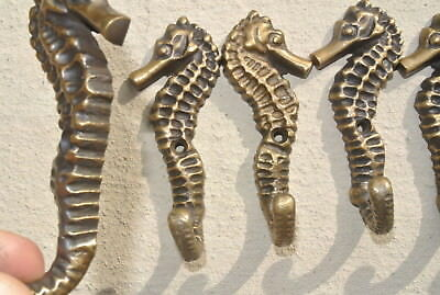 "6 small SEAHORSE BRASS HOOK COAT WALL MOUNTED HANG TROPICAL old style hook 3"" B 6"