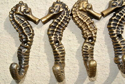 "6 small SEAHORSE BRASS HOOK COAT WALL MOUNTED HANG TROPICAL old style hook 3"" B 5"