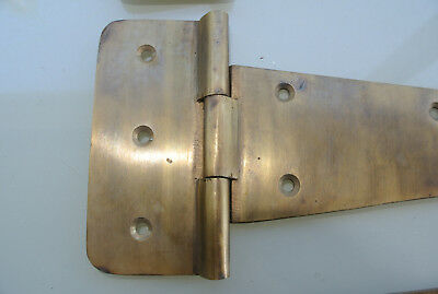 4 large hinges screws old aged style cast solid Brass DOOR BOX heavy 26cm long B 9