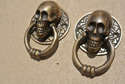 4 small SKULL head ring pull Handle cast BRASS day of the dead cabinet door 5cmB 8