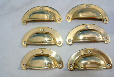6 small shell shape pulls handles old solid brass vintage POLISHED drawer 82 mmB 6