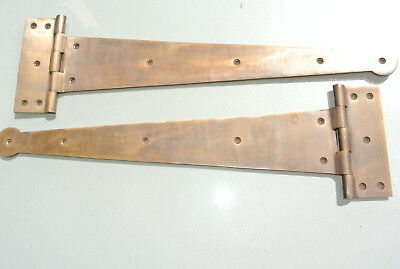 "2 massive hinges vintage aged style solid Brass DOORS BOX very heavy 18"" long 2"