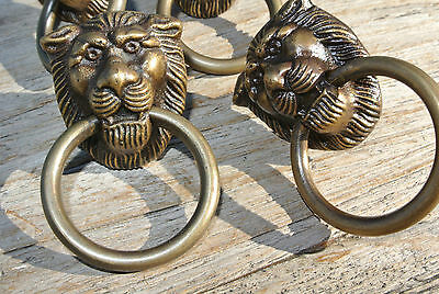 4 TINY PULLS handles  heavy LION SOLID BRASS old style screws house antiques 2
