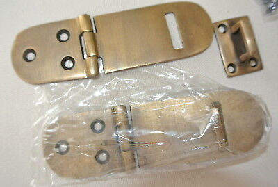 "2 small box catch hasp latch old style solid brass DOOR heavy rectangle 4"" B 2"