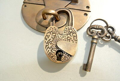 "heavy HASP & STAPLE heart oval engraved Padlock and KEYs inc 5"" OVAL catch latch 2"