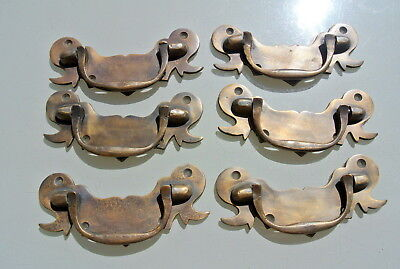 "8 heavy old look BOX drawer pulls handles for antiques brass vintage style 5"" B 5"