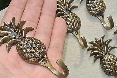 "6 small PINEAPPLE 100% BRASS HOOK COAT WALL MOUNTED HANG old style hook 4"" B 8"