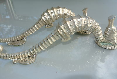 "4 small SEAHORSE solid brass door SILVER plated old style PULL handle 10"" long B 6"