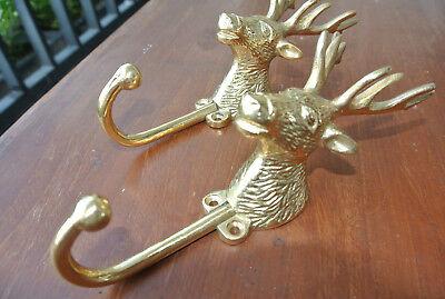 "2 small REINDEER stag horns HOOKS solid BRASS old hook POLISHED style 6 "" Deer B 5"