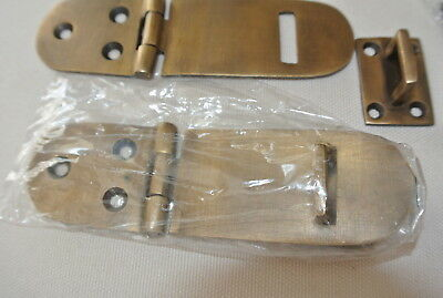 "2 small box catch hasp latch old style solid brass DOOR heavy rectangle 4"" B 9"