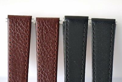 15mm 17mm 19mm BLACK or BROWN,QUALITY SOFT GENUINE CALF LEATHER WATCH STRAP L2-7 4