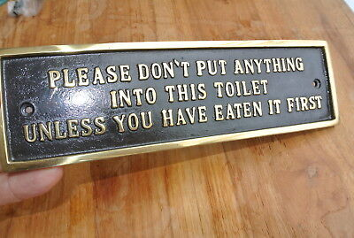"solid brass sign"" toilet "" screw to door cast heavy vintage style 23 cm long B 7"