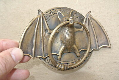 "heavy Door Knocker BAT ring old heavy SOLID cast BRASS vintage antique style 7""B 3"