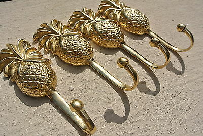 4 small PINEAPPLE BRASS HOOK COAT WALL MOUNT HANG old style 12 cm polished B 4