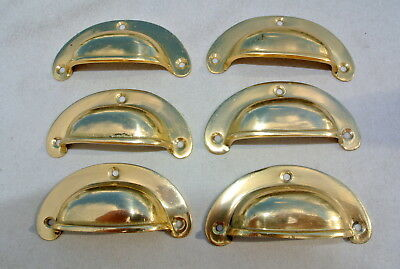 6 small shell shape pulls handles old solid brass vintage POLISHED drawer 82 mmB 4