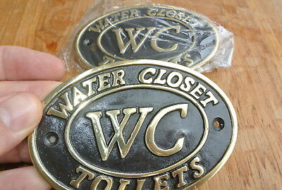 "2 toilet solid brass signs "" WC "" water closet screw door cast heavy 11.5 cm B 2"