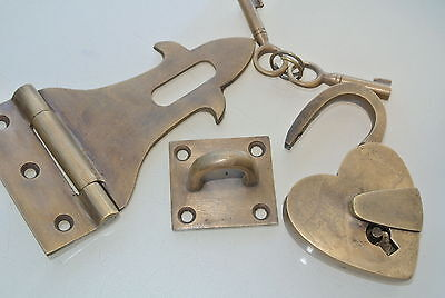 box & HEART padlock catch hasp latch vintage style BOX antiques DOOR Key heavy B 7