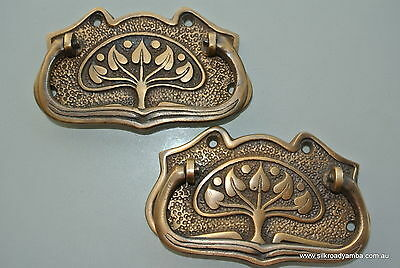 8 large DECO cabinet handles solid brass furniture antiques age old style 11cmB 3