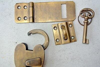 box & padlock catch hasp latch vintage style house DOOR Key heavy rectangle B 2