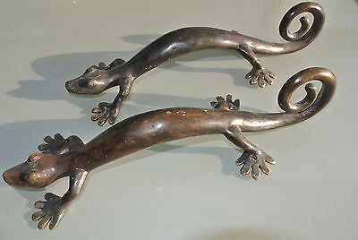 2 large GECKO brass door vintage old style house PULL handle 35cm aged curly B 2