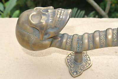 "SKULL handle DOOR PULL spine solid BRASS CAST old style heavy aged  11 "" long B 9"