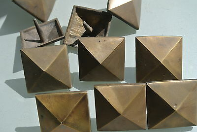 "10 brass STUDS door solid heavy furniture boxes vintage age old style 2"" decor 10"