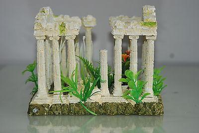 Aquarium Medium  Greek Temple Ruin Decoration & Plants & Airstone  18x12x13 cms 4