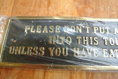 "solid brass sign"" toilet "" screw to door cast heavy vintage style 23 cm long B 3"
